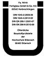Prüfzeichen Ernst Wirth - UE-Zertifikat